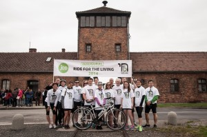 The riders at the gates of Auschwitz Birkenau