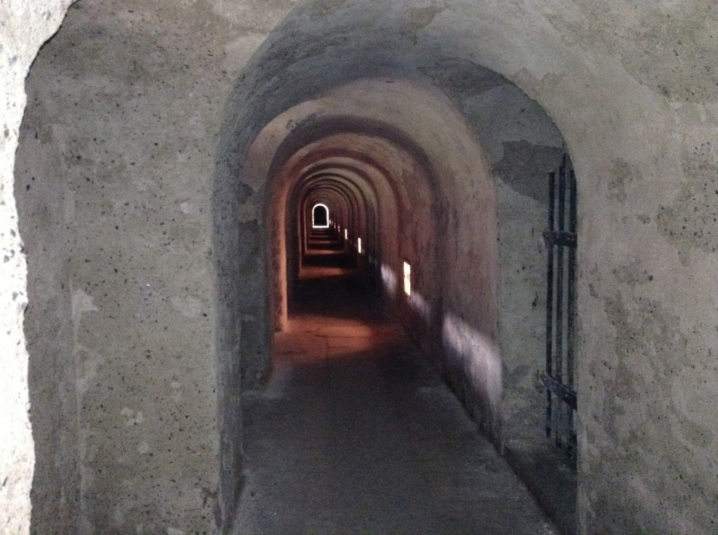 The castle of Theresienstadt has over 55km of tunnels to help the residents of the fortress escape should there be an attack. These were closed off by the Nazi's for fear of exactly that.