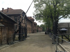 Entrance to Auschwitz with the phrase: Arbeit Macht Frei - work will make you free (with the sadistic meaning of death)