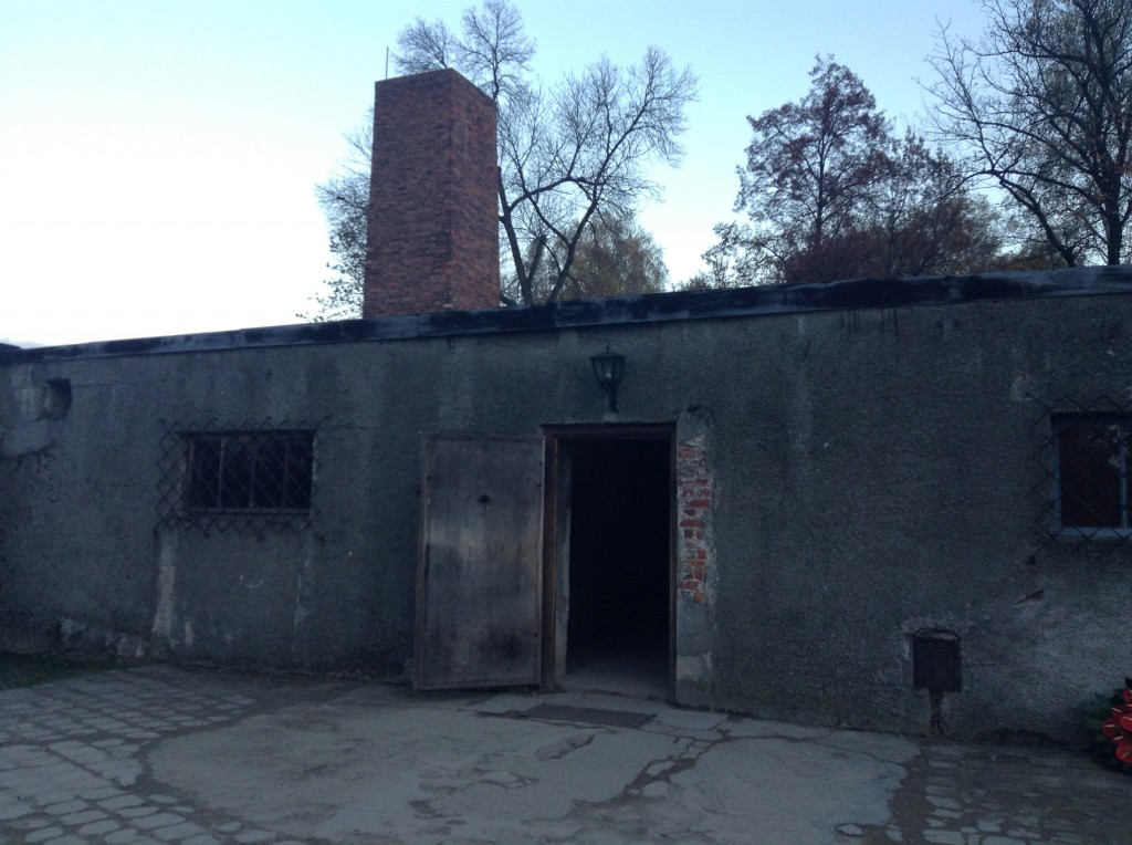 The outside of the gas chamber still in tact at Auschwitz