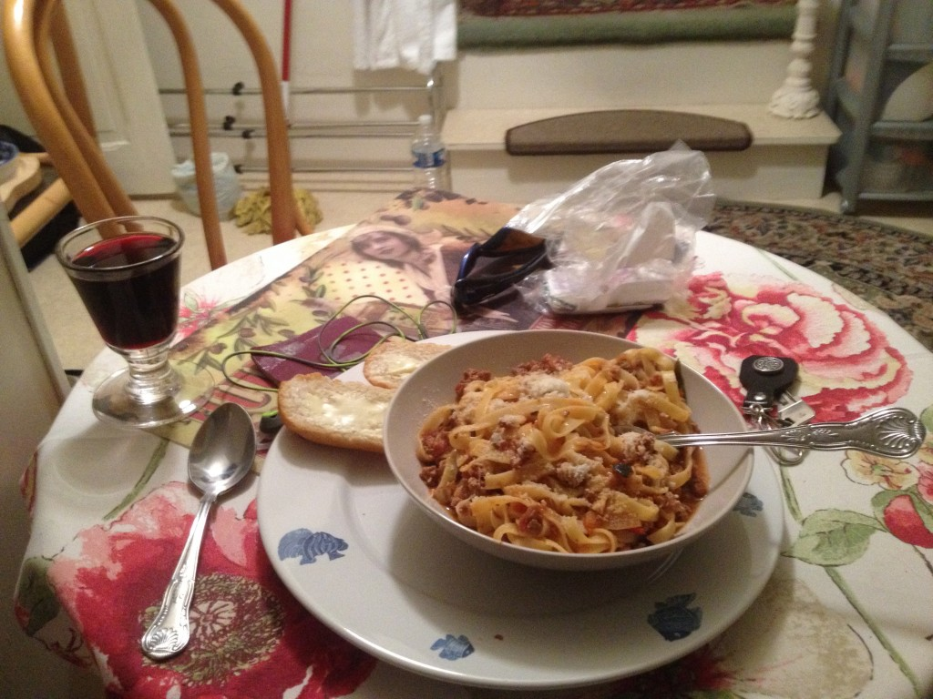 Home made spagbol and some wine. Great if you can get it!