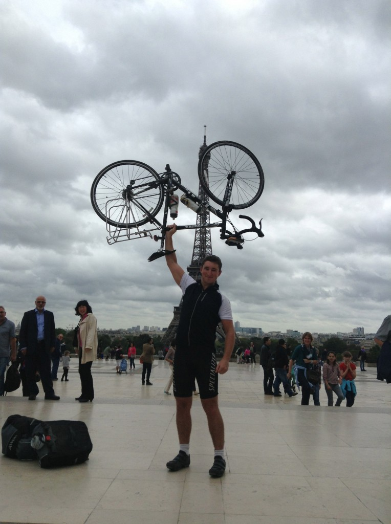Lifting the Bike in front of the Eiffel Tower