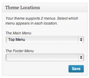 Menus of a Theme