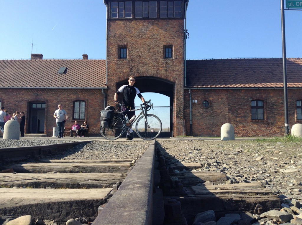 Outside the main gates to the camp at Birkenau