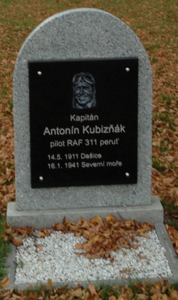A memorial plaque to what appears to be an RAF pilot from the Czech Republic