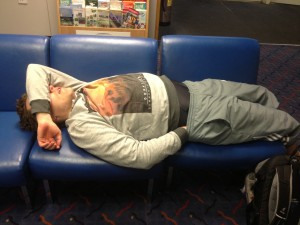 Sleeping in the ferry waiting room
