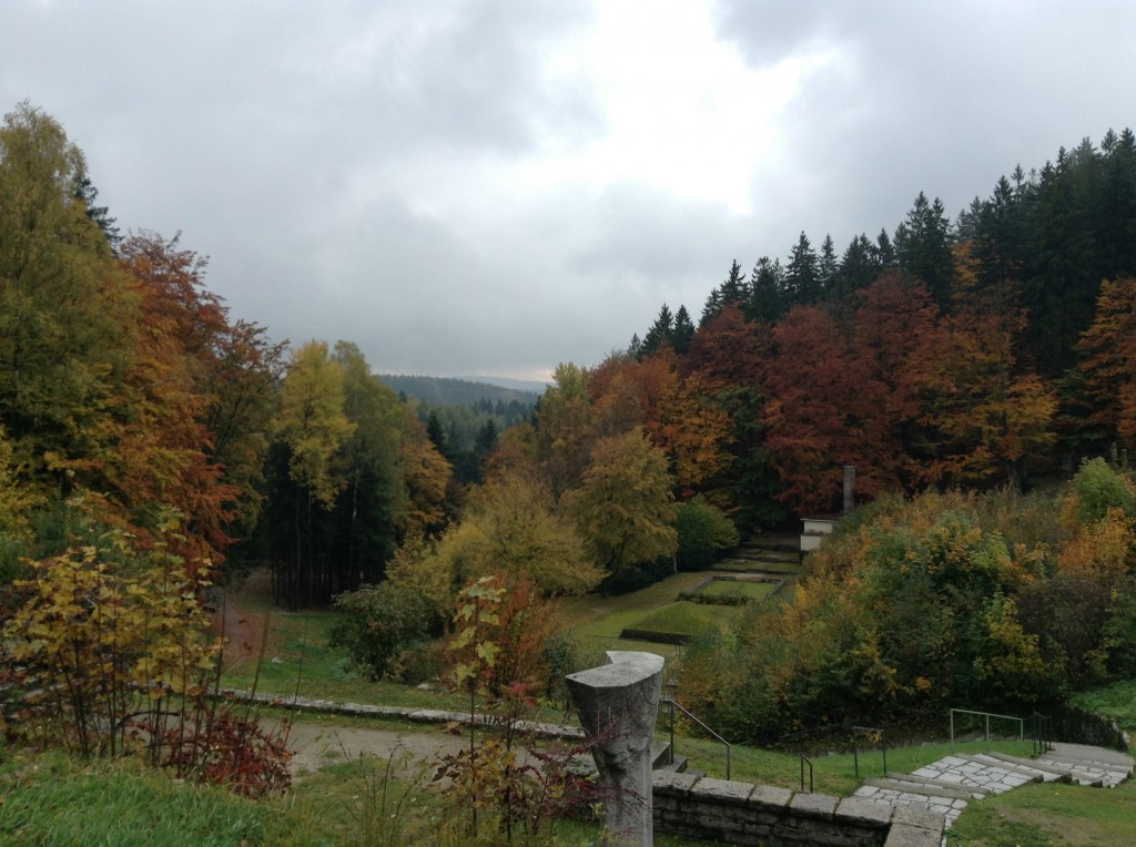 The view overlooking the memorials and crematorium at the bottom of the Flossenberg camp