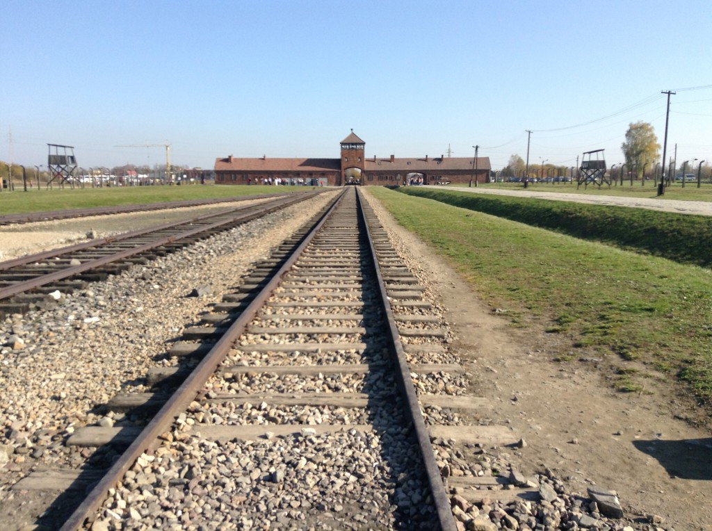The train tracks which brought so many through the gates to this extermination camp